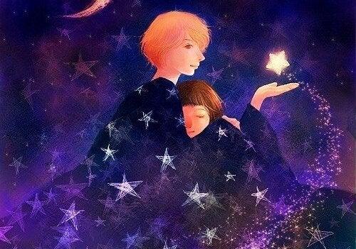 Mor og barn i stjerner