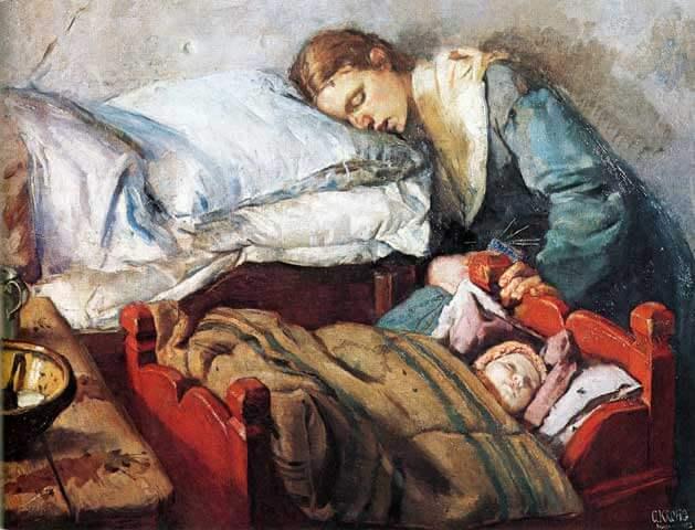 Trøtt mor og sovende baby