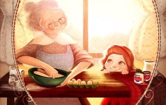 Når en bestemor ser barnebarnet sitt for første gang