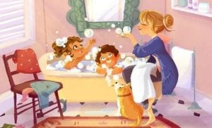 Mor som bader barna