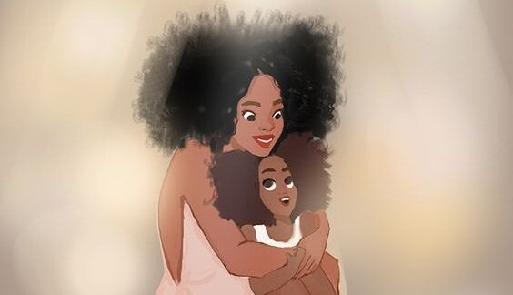 tegning av mor som klemmer datter