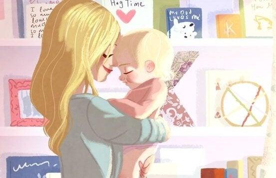Mor og baby som koser