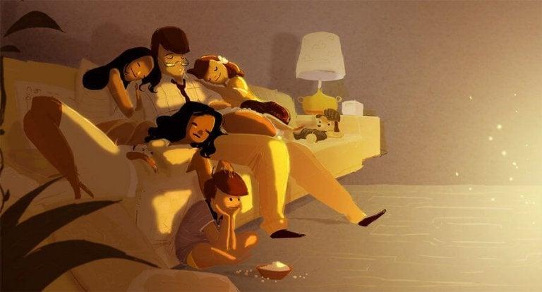 foreldre som er utslitt men lykkelige