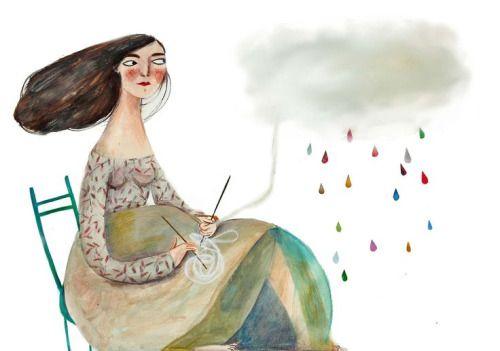 tegning av mor med fødselsdepresjon