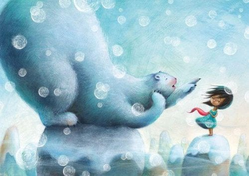 tegneserie av isbjørn med lite barn