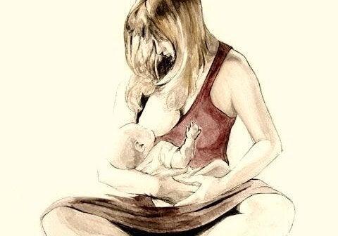 Tegning av mor som ammer barnet sitt