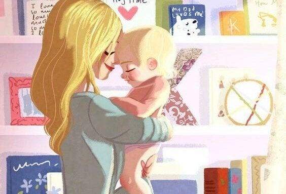 tegning av mor som holder babyen