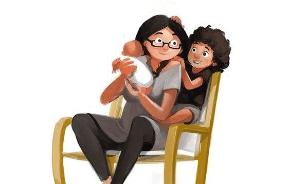 tegning av mamma med to barn