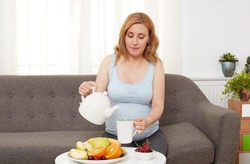 gravid med sunn mat