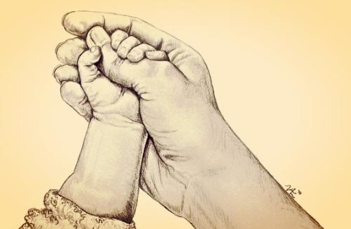 Når din babys lille hånd griper fingeren din