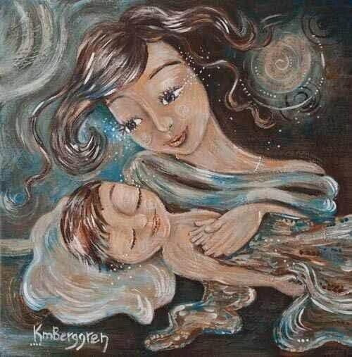 Maleri mor og baby