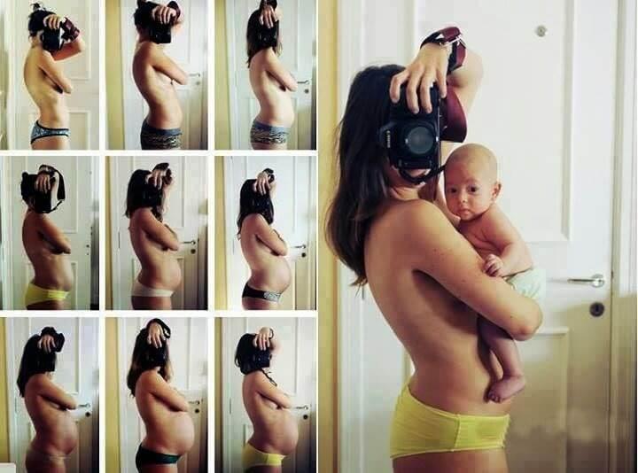 gravid kvinne tar bilder