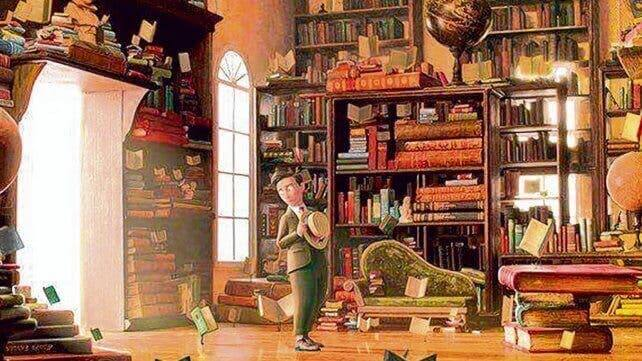 En scene fra kortfilmen om flygende bøker
